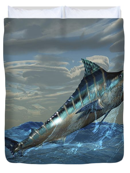 An Iridescent Blue Marlin Bursts Duvet Cover by Corey Ford