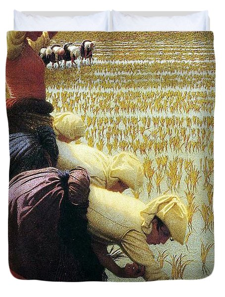 An Italian Rice Field Duvet Cover by Angelo Morbelli