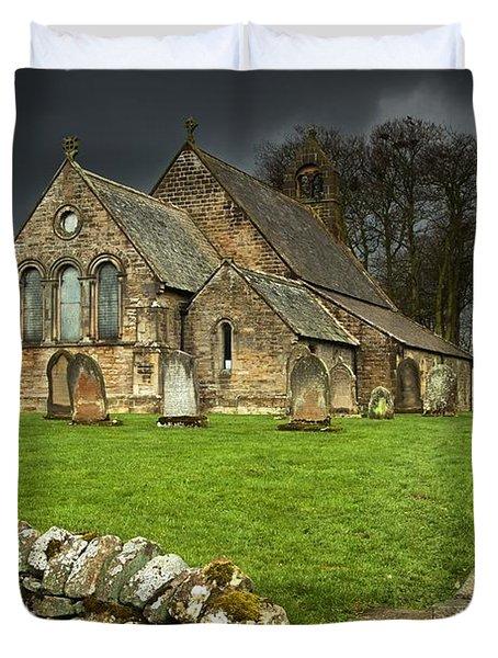 An Old Church Under A Dark Sky Duvet Cover by John Short