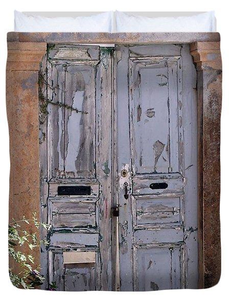 Ancient Garden Doors In Greece Duvet Cover by Sabrina L Ryan