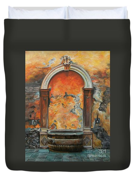 Ancient Italian Fountain Duvet Cover by Charlotte Blanchard