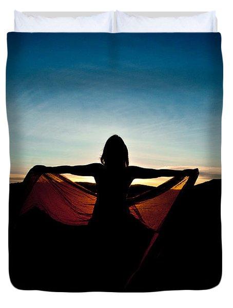 Angel At Sunset Duvet Cover by Scott Sawyer