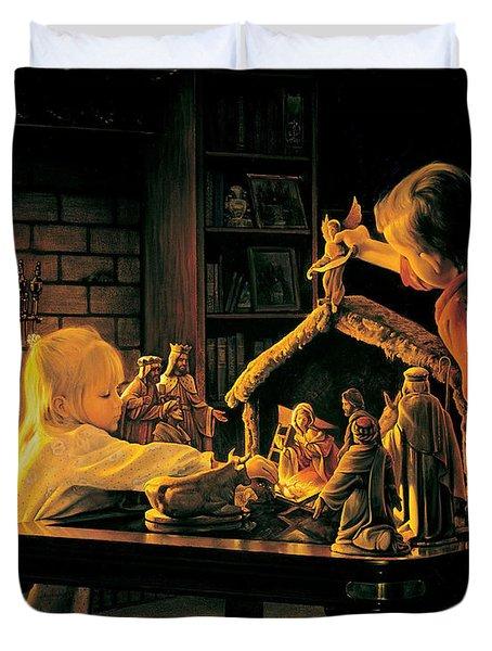 Angels of Christmas Duvet Cover by Greg Olsen