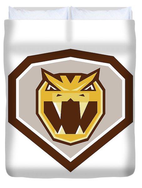 Angry Horned Viper Crest Retro Duvet Cover by Aloysius Patrimonio