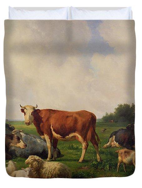 Animals Grazing In A Meadow  Duvet Cover by Hendrikus van de Sende Baachyssun