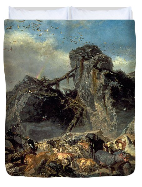 Animals Leaving The Ark, Mount Ararat  Duvet Cover by Filippo Palizzi
