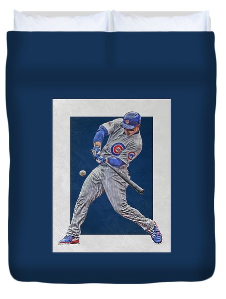 Anthony Rizzo Chicago Cubs Art 1 Duvet Cover by Joe Hamilton