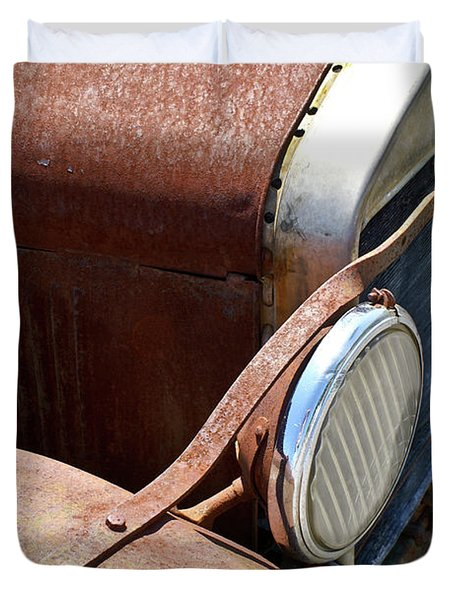 Antique Car Headlamp 2 Duvet Cover by Douglas Barnett
