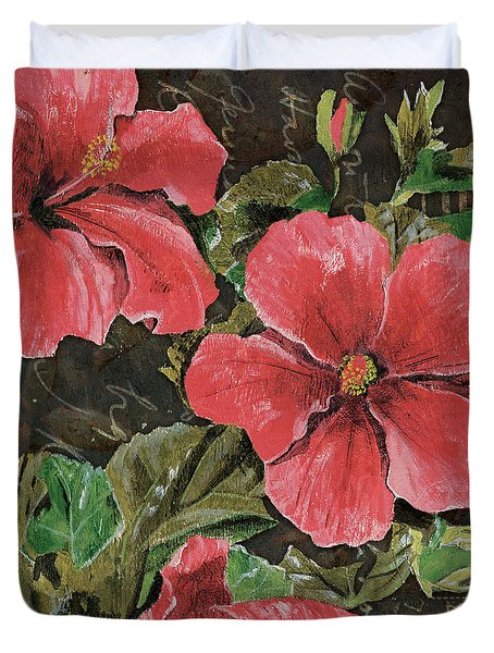 Antique Hibiscus Black 2 Duvet Cover by Debbie DeWitt