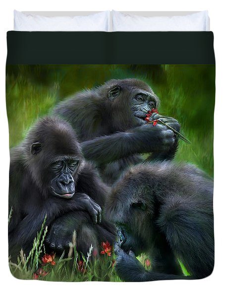 Ape Moods Duvet Cover by Carol Cavalaris
