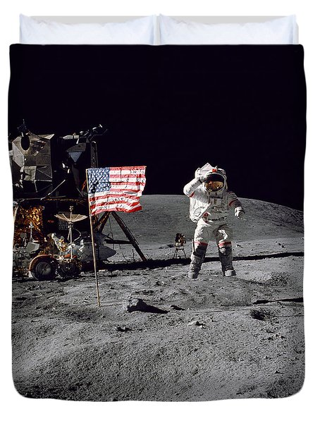 Apollo 16 Astronaut Leaps Duvet Cover by Stocktrek Images