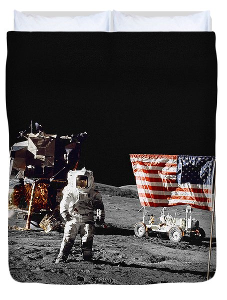 Apollo 17 Astronaut Stands Duvet Cover by Stocktrek Images