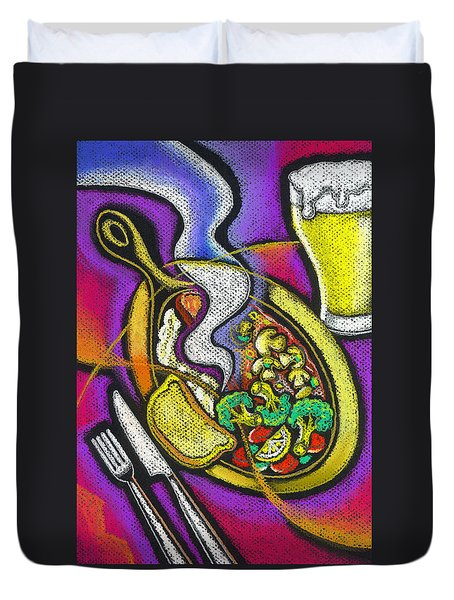 Appetizing Dinner Duvet Cover by Leon Zernitsky