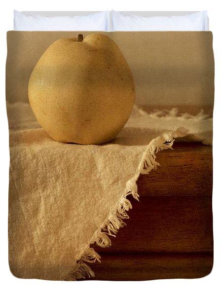 Apple Pear On A Table Duvet Cover by Priska Wettstein