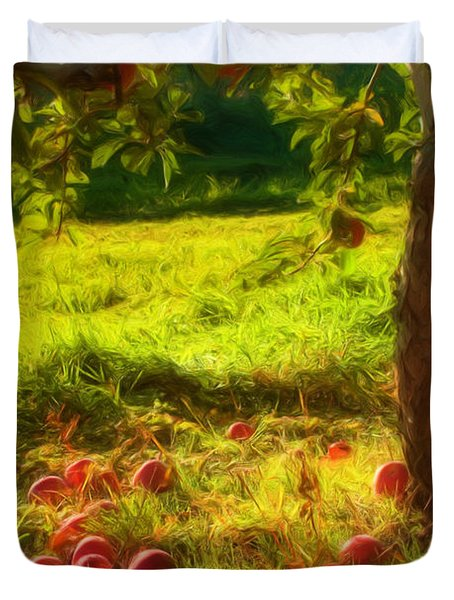 Apple Picking Duvet Cover by Joann Vitali