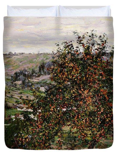 Apple Trees Near Vetheuil Duvet Cover by Claude Monet