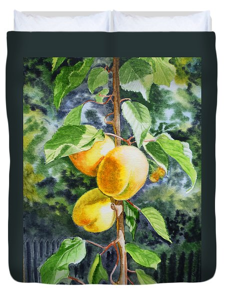 Apricots in the Garden Duvet Cover by Irina Sztukowski