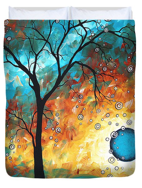 Aqua Burn By Madart Duvet Cover by Megan Duncanson