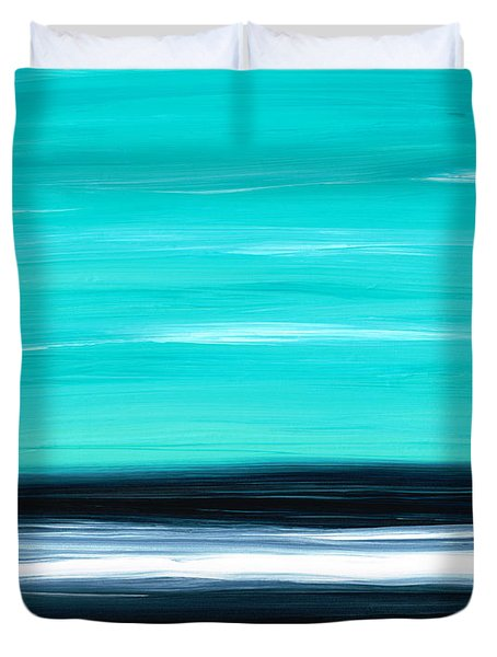 Aqua Sky - Bold Abstract Landscape Art Duvet Cover by Sharon Cummings