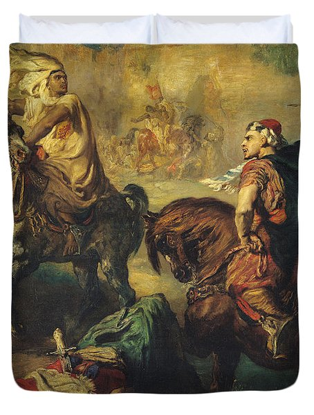 Arab Tribal Chiefs In Single Combat Duvet Cover by Theodore Chasseriau