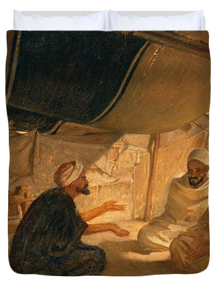 Arabs In The Desert Duvet Cover by Frederick Goodall