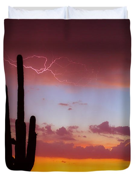 Arizona Lightning Sunset Duvet Cover by James BO  Insogna