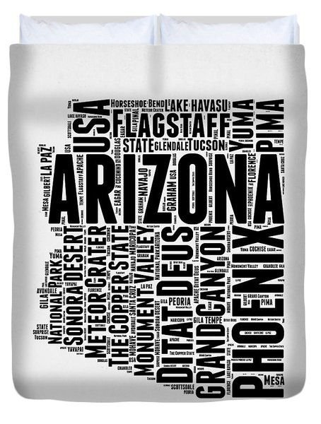 Arizona Word Cloud Map 2 Duvet Cover by Naxart Studio