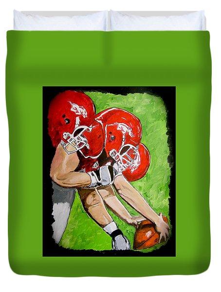 Arkansas Razorbacks Football Duvet Cover by Carol Blackhurst