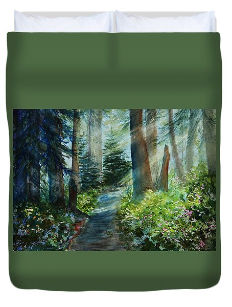Around The Path Duvet Cover by Kerri Ligatich