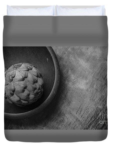 Artichoke Black And White Still Life Three Duvet Cover by Edward Fielding