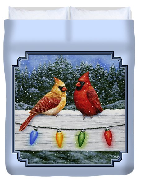 Bird Painting - Christmas Cardinals Duvet Cover by Crista Forest