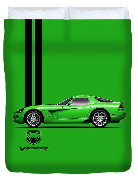 Dodge Viper Snake Green Duvet Cover by Mark Rogan
