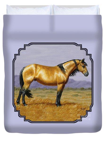Buckskin Mustang Stallion Duvet Cover by Crista Forest