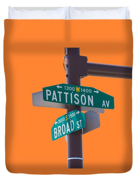 Broad And Pattison Where Philly Sports Happen Duvet Cover by Photographic Arts And Design Studio