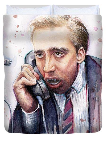 Nicolas Cage A Vampire's Kiss Watercolor Art Duvet Cover by Olga Shvartsur