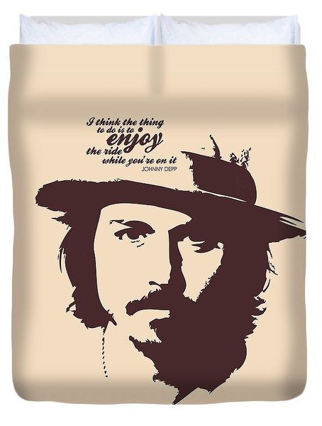Johnny Depp Minimalist Poster Duvet Cover by Lab No 4 - The Quotography Department
