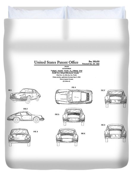 Porsche 911 Patent Duvet Cover by Mark Rogan