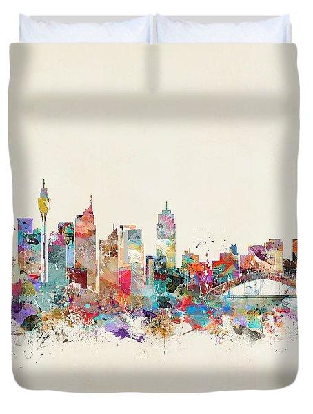 Sydney Skyline Australia Duvet Cover by Bri B