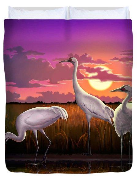 Whooping Cranes Tropical Florida Everglades Sunset Birds Landscape Scene Purple Pink Print Duvet Cover by Walt Curlee