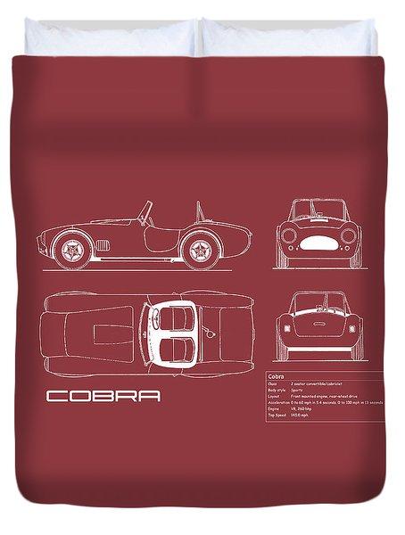 Ac Cobra Blueprint - Red Duvet Cover by Mark Rogan