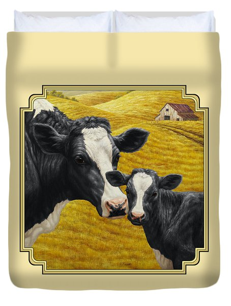 Holstein Cow And Calf Farm Duvet Cover by Crista Forest