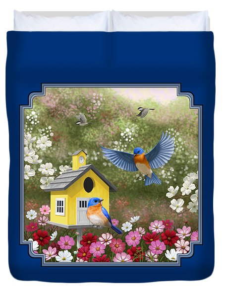 Bluebirds And Yellow Birdhouse Duvet Cover by Crista Forest