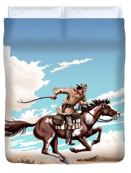 Pony Express Rider Historical Americana Painting Desert Scene Duvet Cover by Walt Curlee