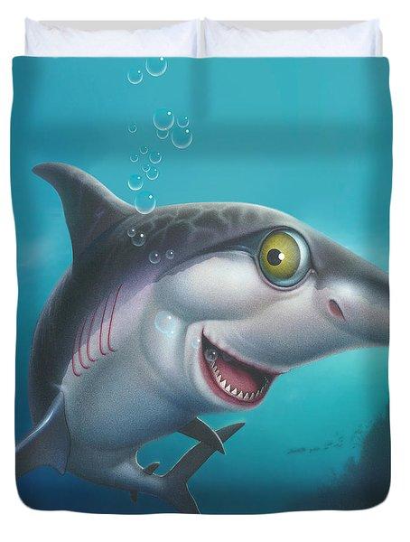 friendly Shark Cartoony cartoon under sea ocean underwater scene art print blue grey  Duvet Cover by Walt Curlee