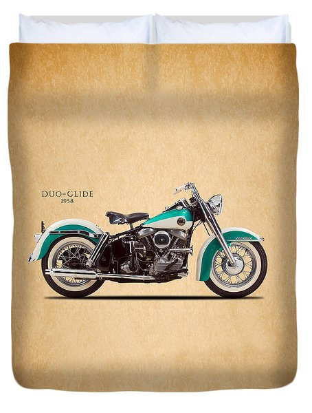 Harley-davidson Duo-glide 1958 Duvet Cover by Mark Rogan