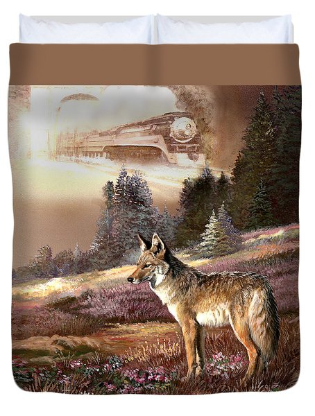 Encounter with the iron hors  Duvet Cover by Gina Femrite
