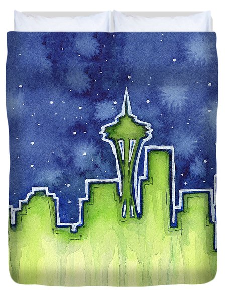 Seattle Night Sky Watercolor Duvet Cover by Olga Shvartsur