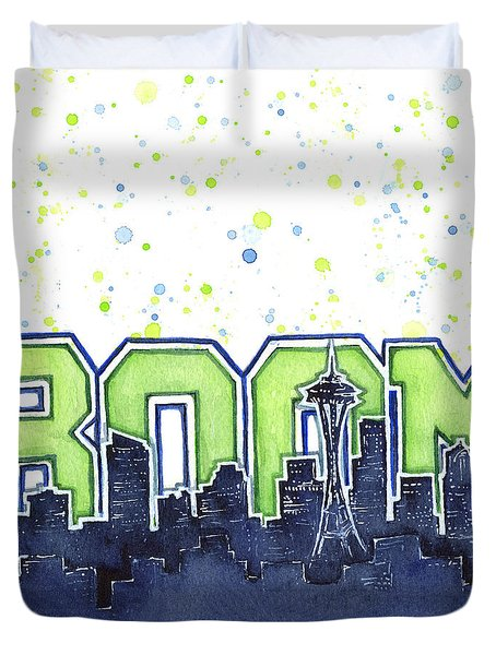 Seattle 12th Man Legion Of Boom Painting Duvet Cover by Olga Shvartsur