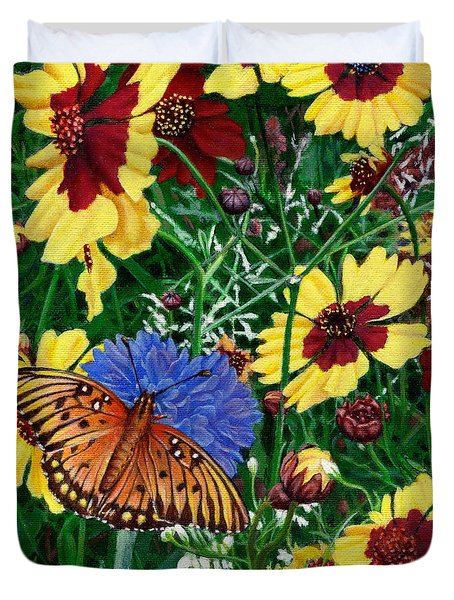 Butterfly Wildflowers Garden Oil Painting Floral Green Blue Orange-2 Duvet Cover by Walt Curlee
