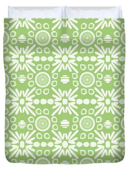 Cilantro- Green And White Art By Linda Woods Duvet Cover by Linda Woods